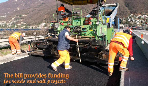 The highway funding bill provides for roads and rail projects