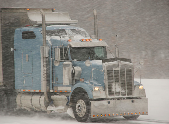 semi truck in snow