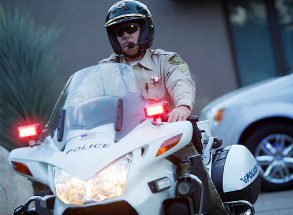 Law enforcement officer on a motorcycle
