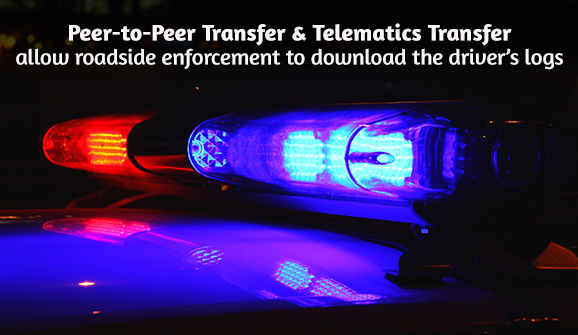 Peer-to-Peer Transfer and Telematics Transfer allow roadside enforcement to download the driver's elogs